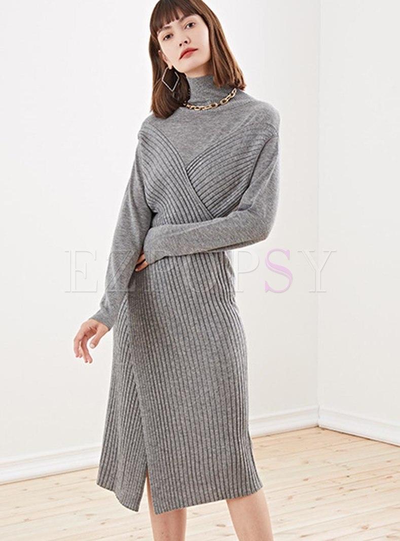 Long Sleeve Split Sheath Knitted Dress