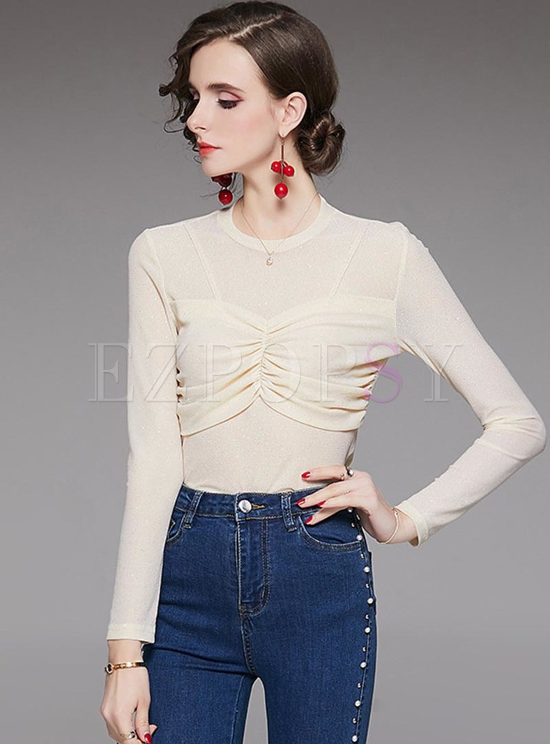 Solid Color Slim Pullover Ruched T-shirt