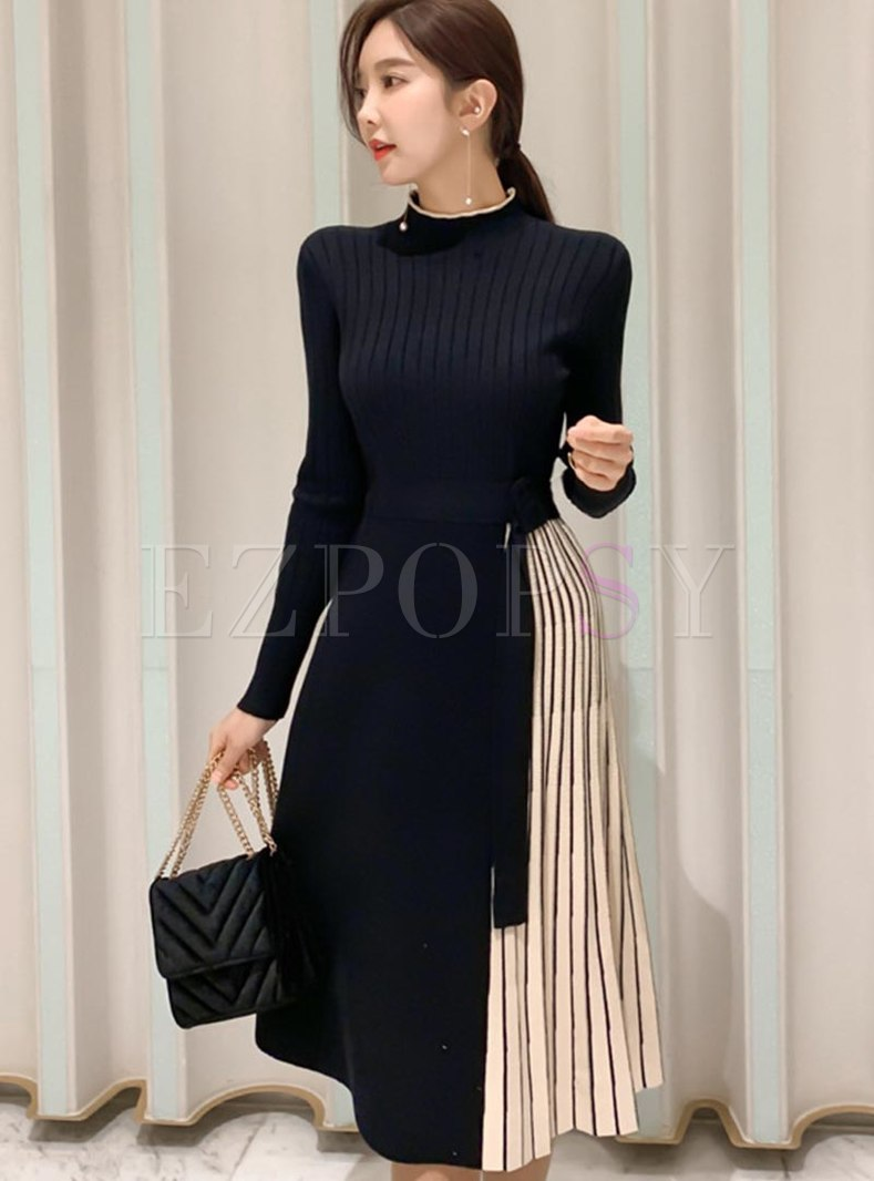 Color Block A Line Pleated Knitted Dress