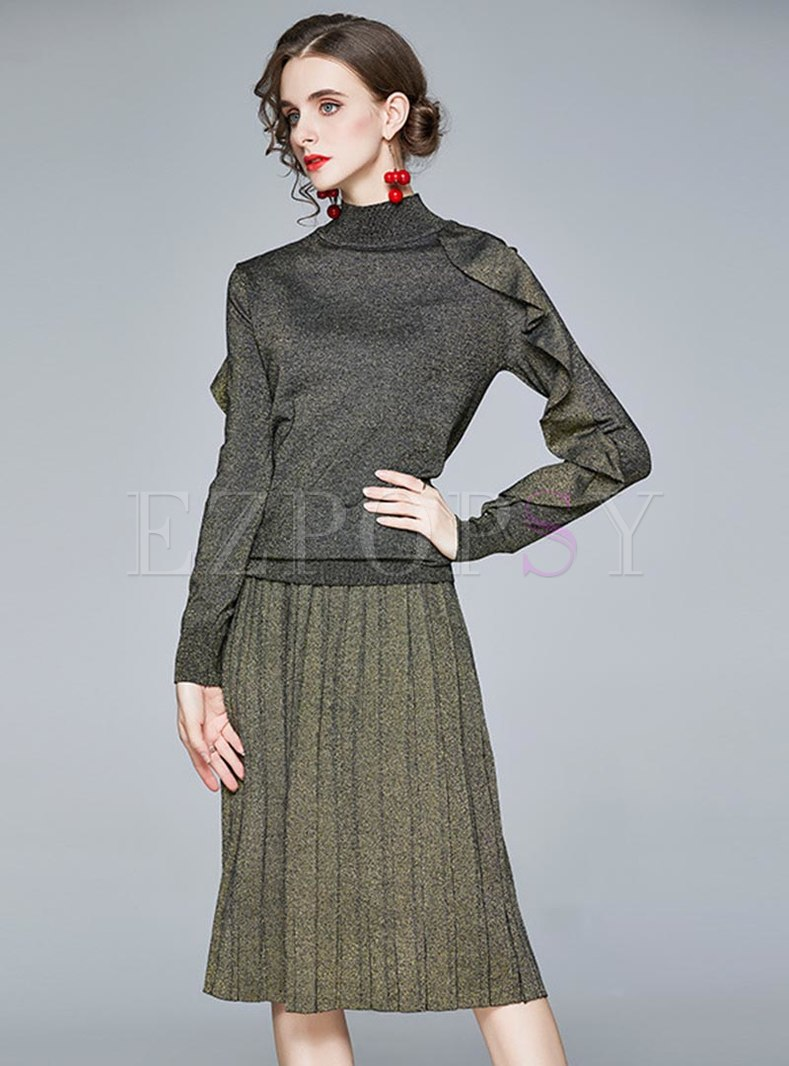 Mock Neck Ruffle Pleated Knitted Skirt Suits
