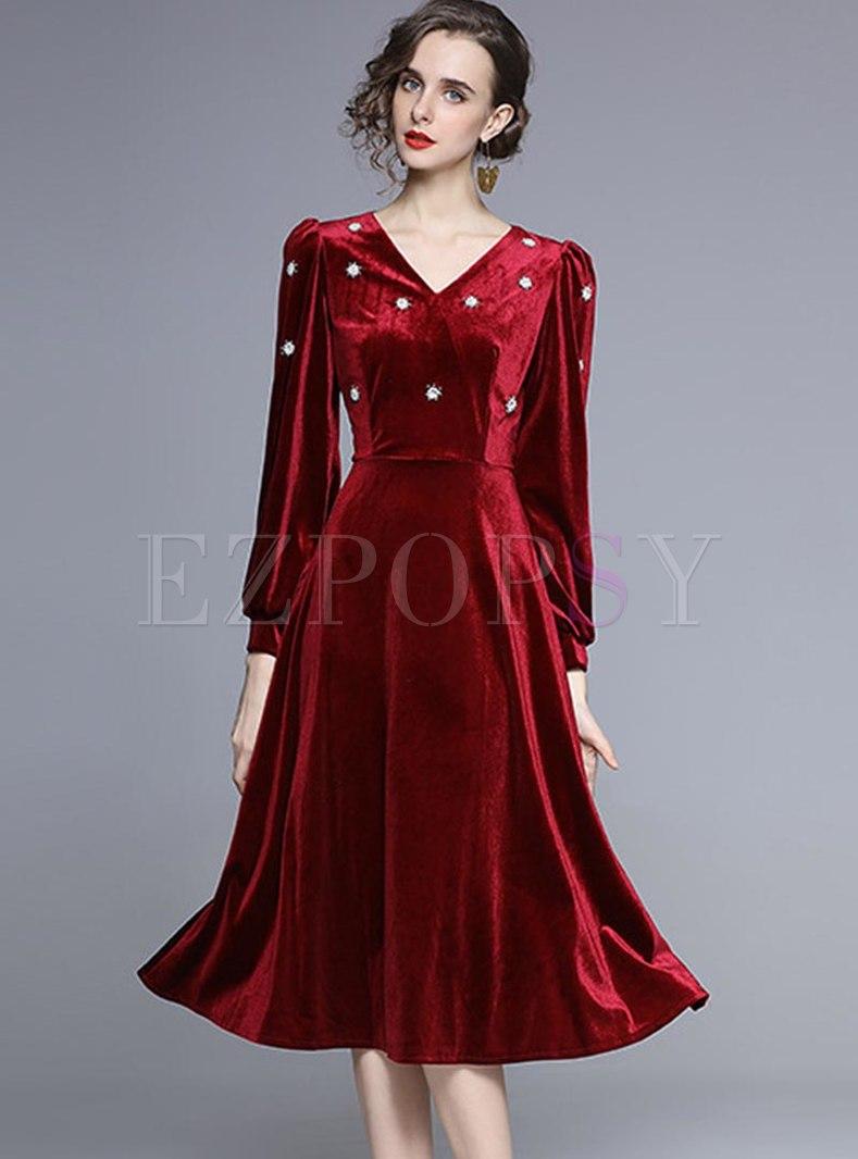 Long Sleeve V-neck Embroidered Velvet Dress