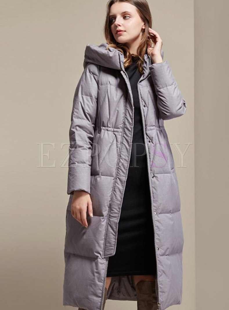 Hooded Duck Down A Line Long Puffer Coat
