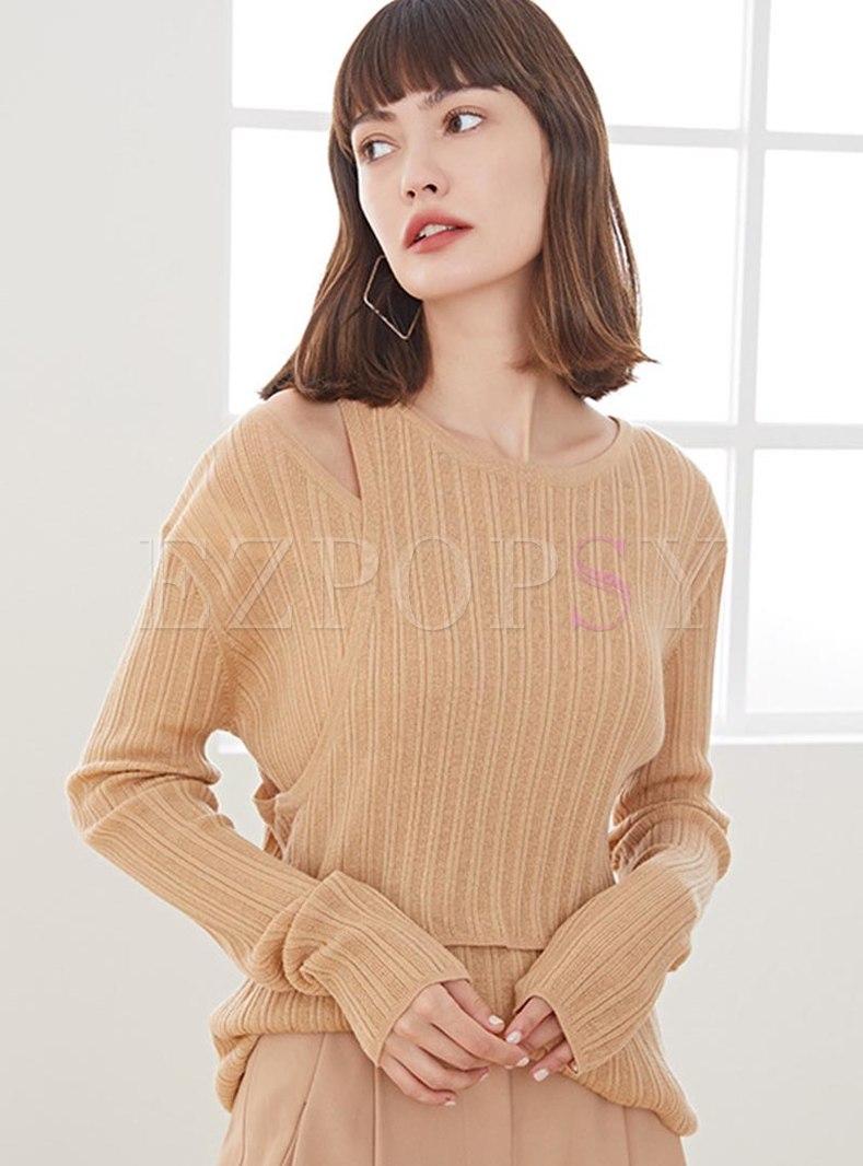 Long Sleeve Openwork Wool Pullover Sweater