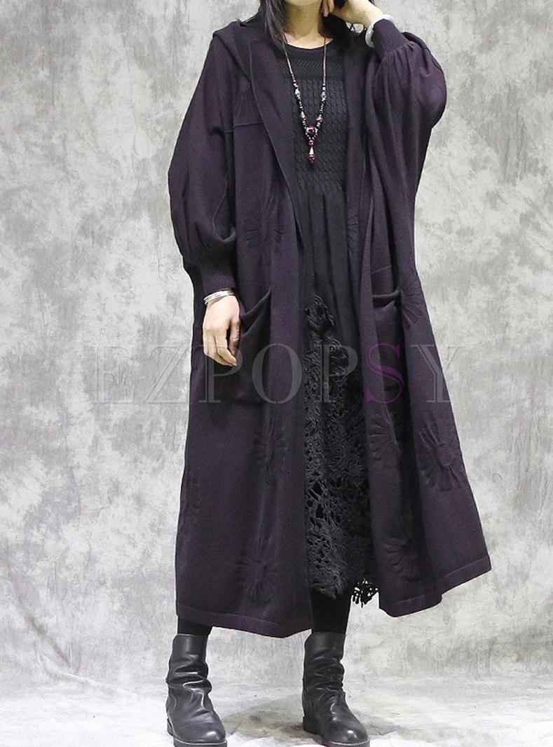 Plus Size Hooded Long Sweater Coat