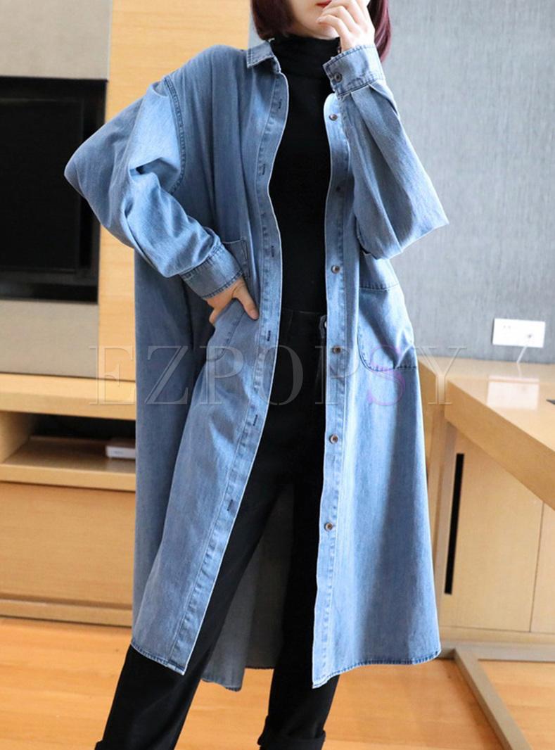 Long Sleeve Straight Denim Long Coat