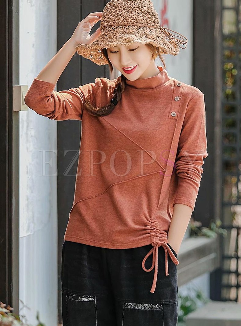 Turtleneck Pullover Drawstring T-shirt
