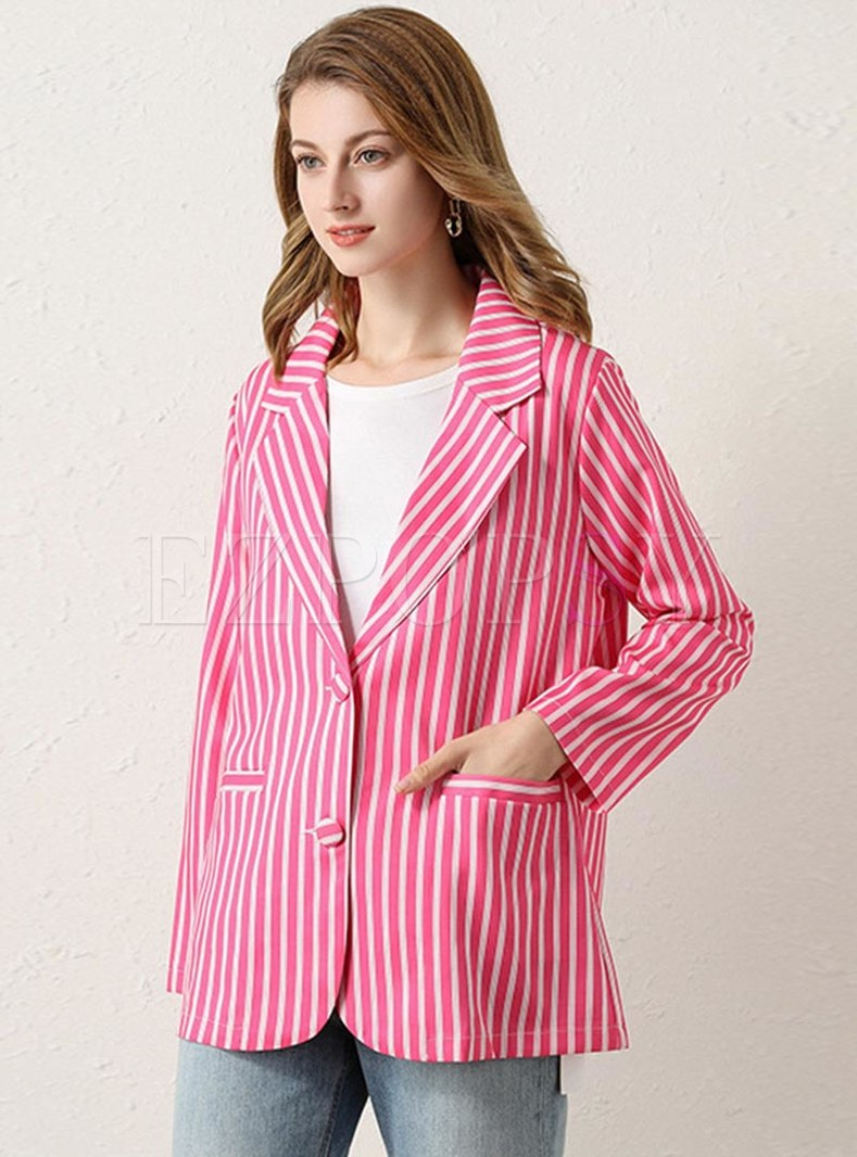 Notched Striped Single-breasted Blazer