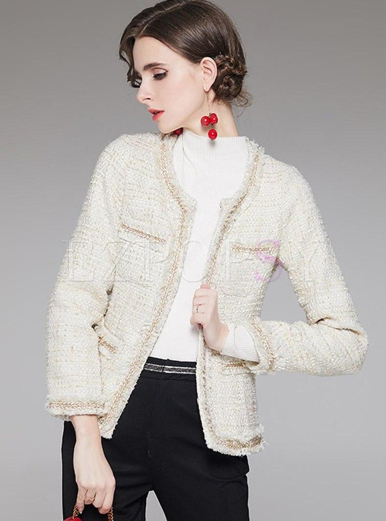 Crew Neck Fringed Short Tweed Coat