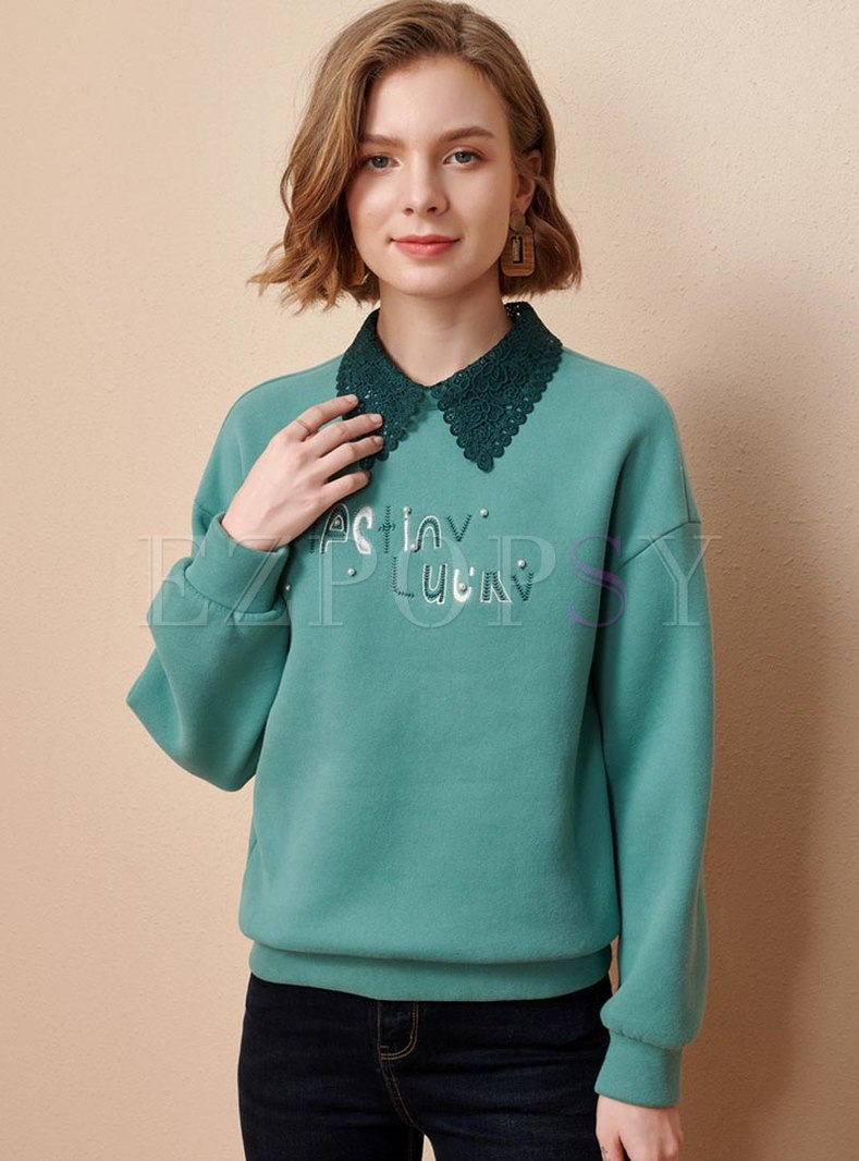 Lace Letter Embroidered Pullover Sweatshirt