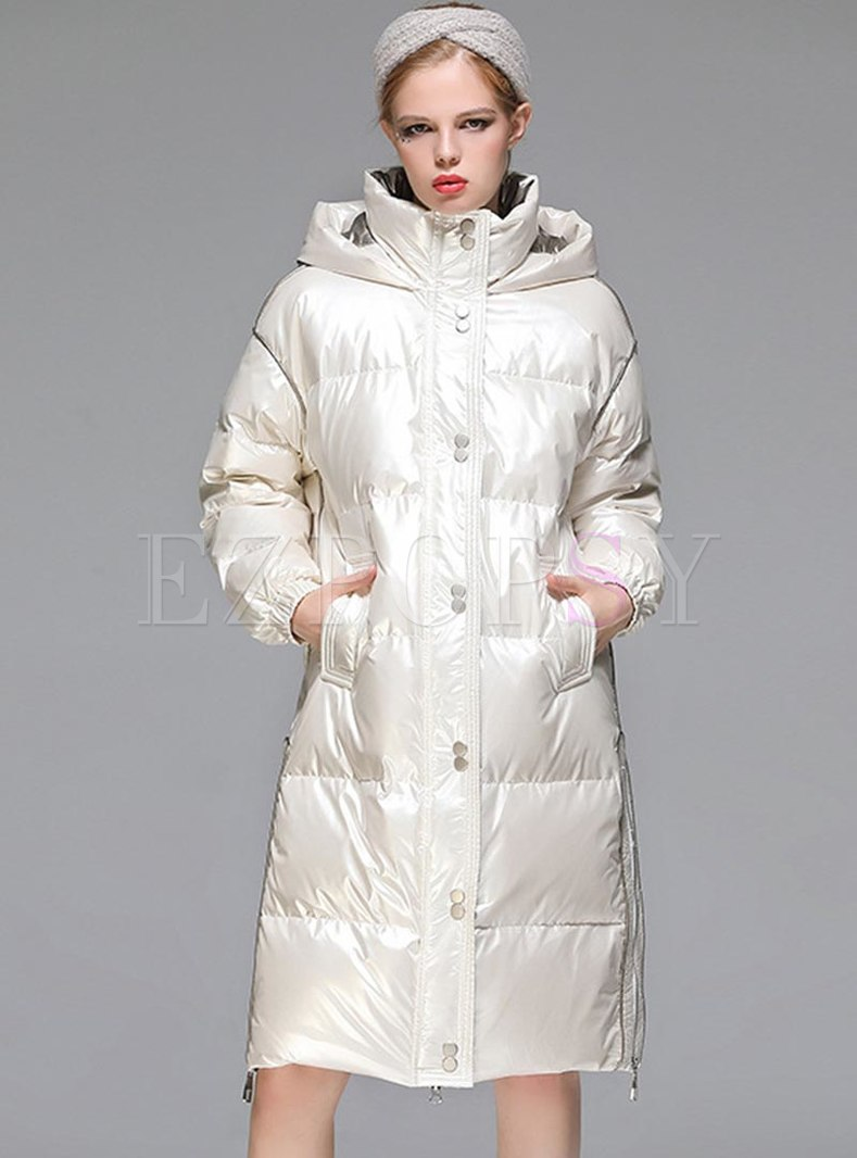 Hooded Side Zipper High Shine Puffer Coat