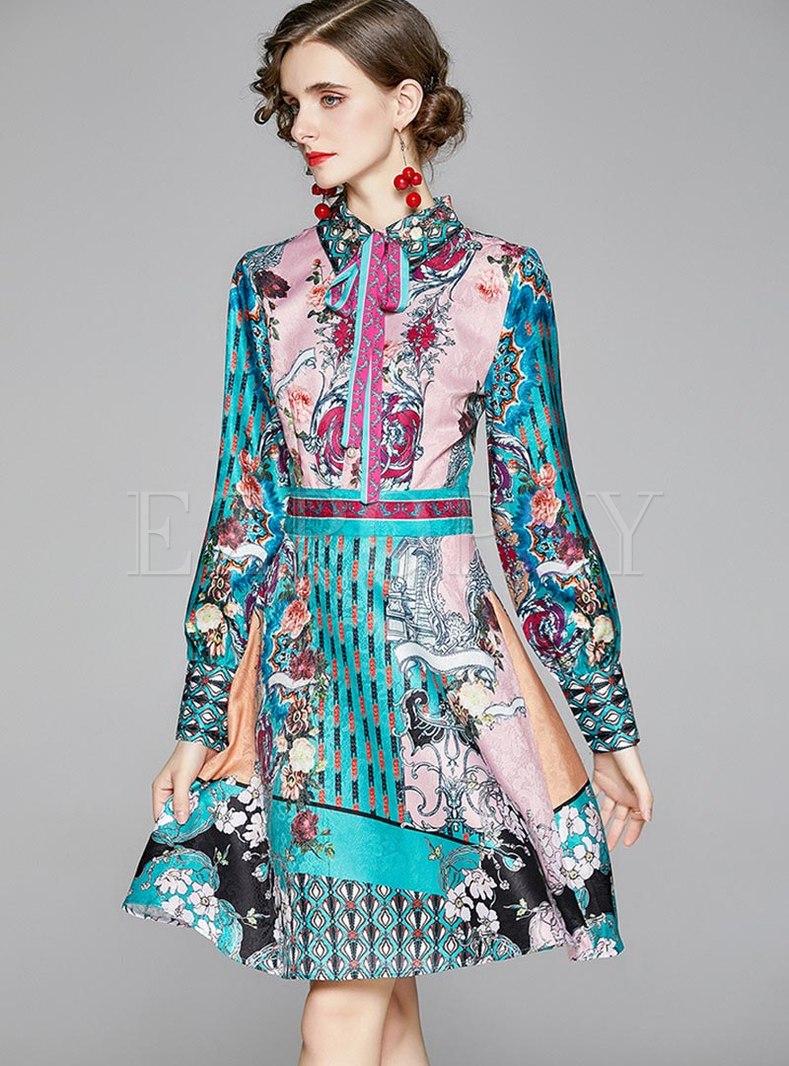 Bowknot Mock Neck Floral Skater Dress