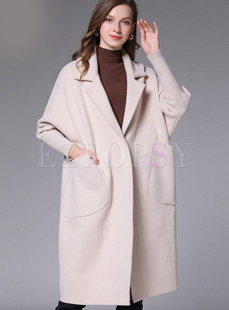 Lapel Long Sleeve Knee-length Loose Overcoat