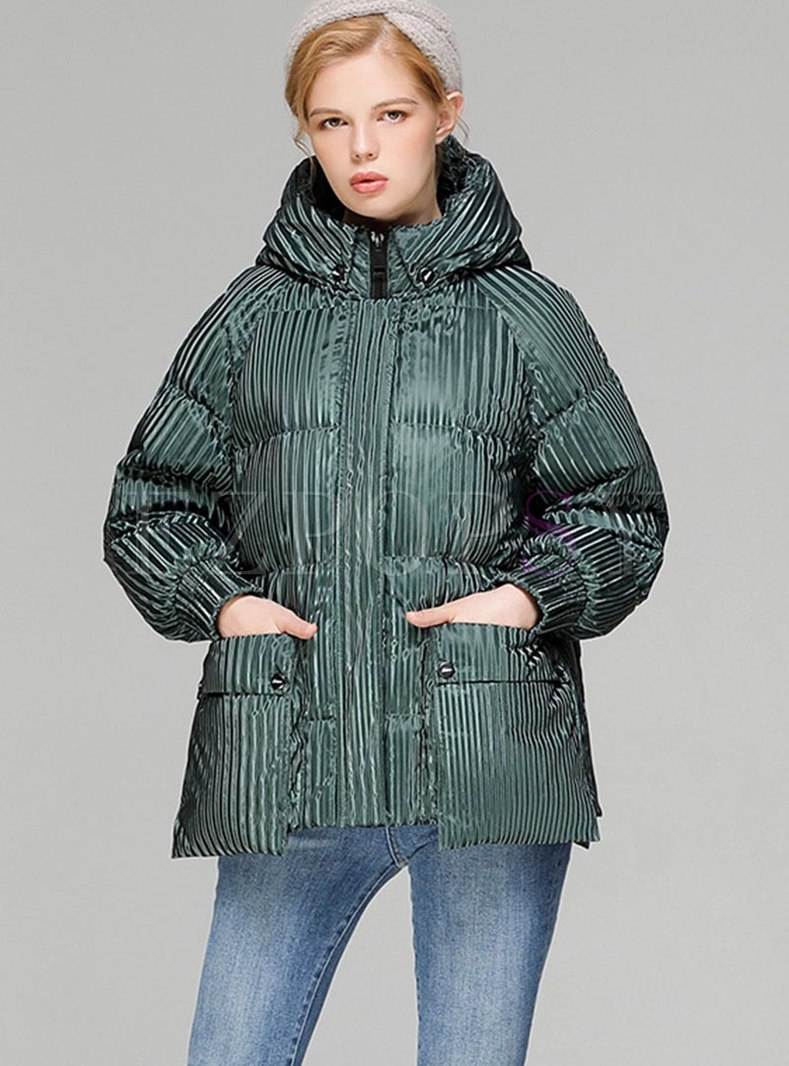 Hooded Striped Loose Duck Down Coat