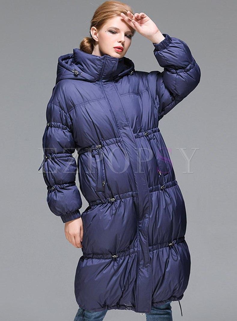 Hooded Long Sleeve Knee-length Down Coat
