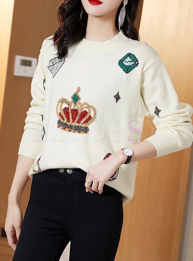 Crew Neck Pullover Print Patchwork Sweater