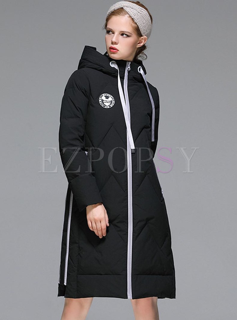 Color-blocked Hooded Drawstring Down Coat