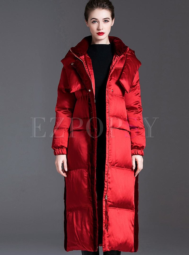Pure Color Hooded Removable Puffer Coat