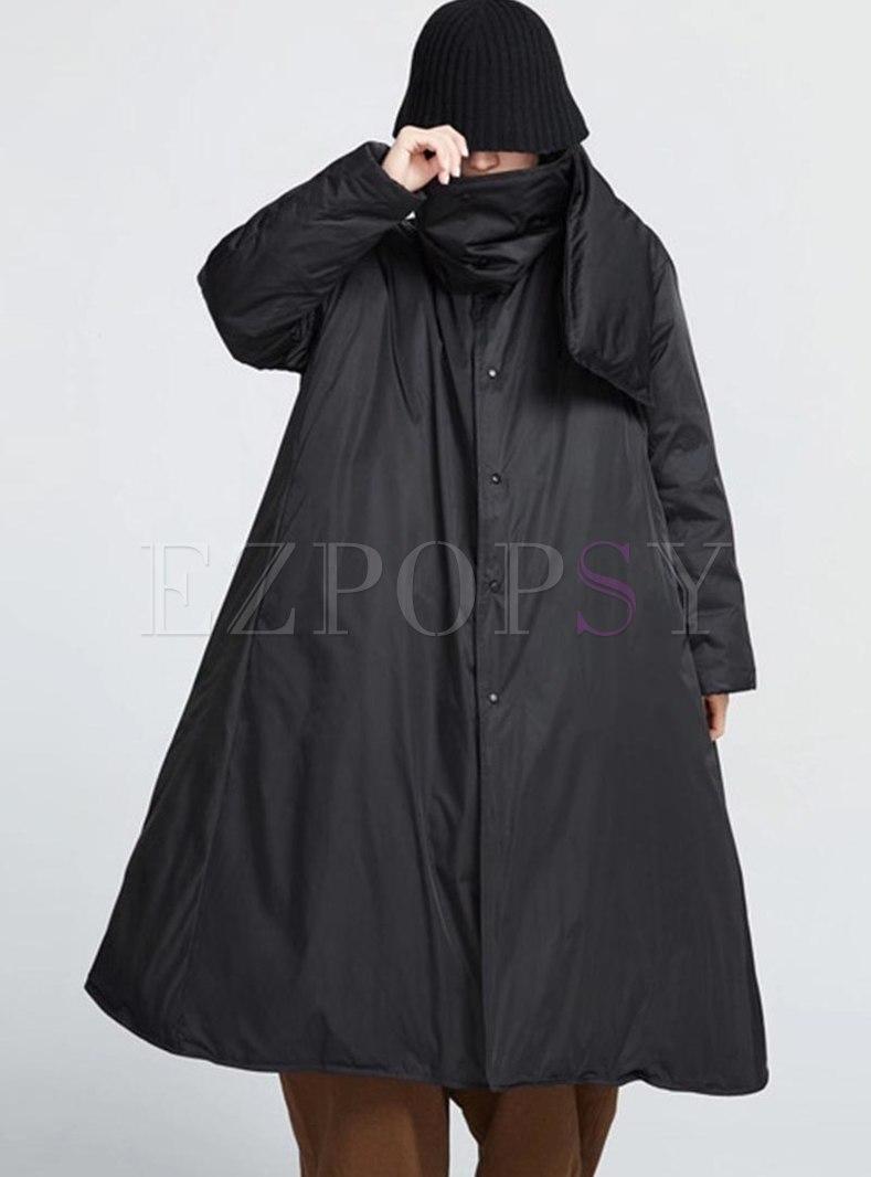 Black Oversize A Line Long Down Coat