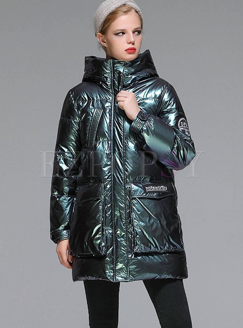 Long Sleeve Shiny Mid-length Down Coat
