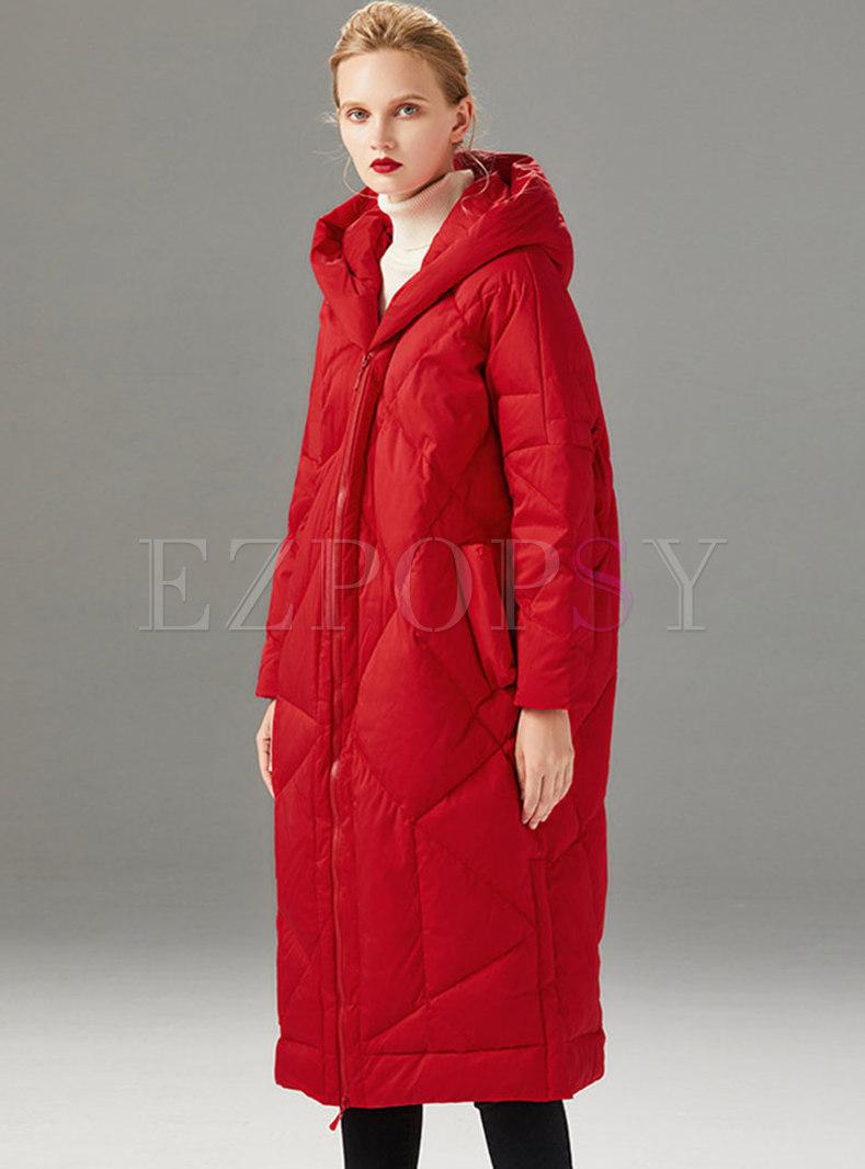 Hooded Loose Long Duck Down Coat