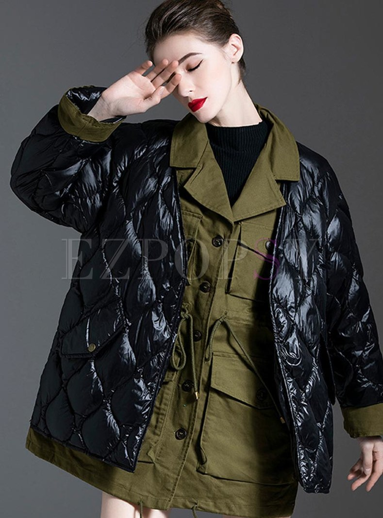 Notched Patchwork Loose Down Coat