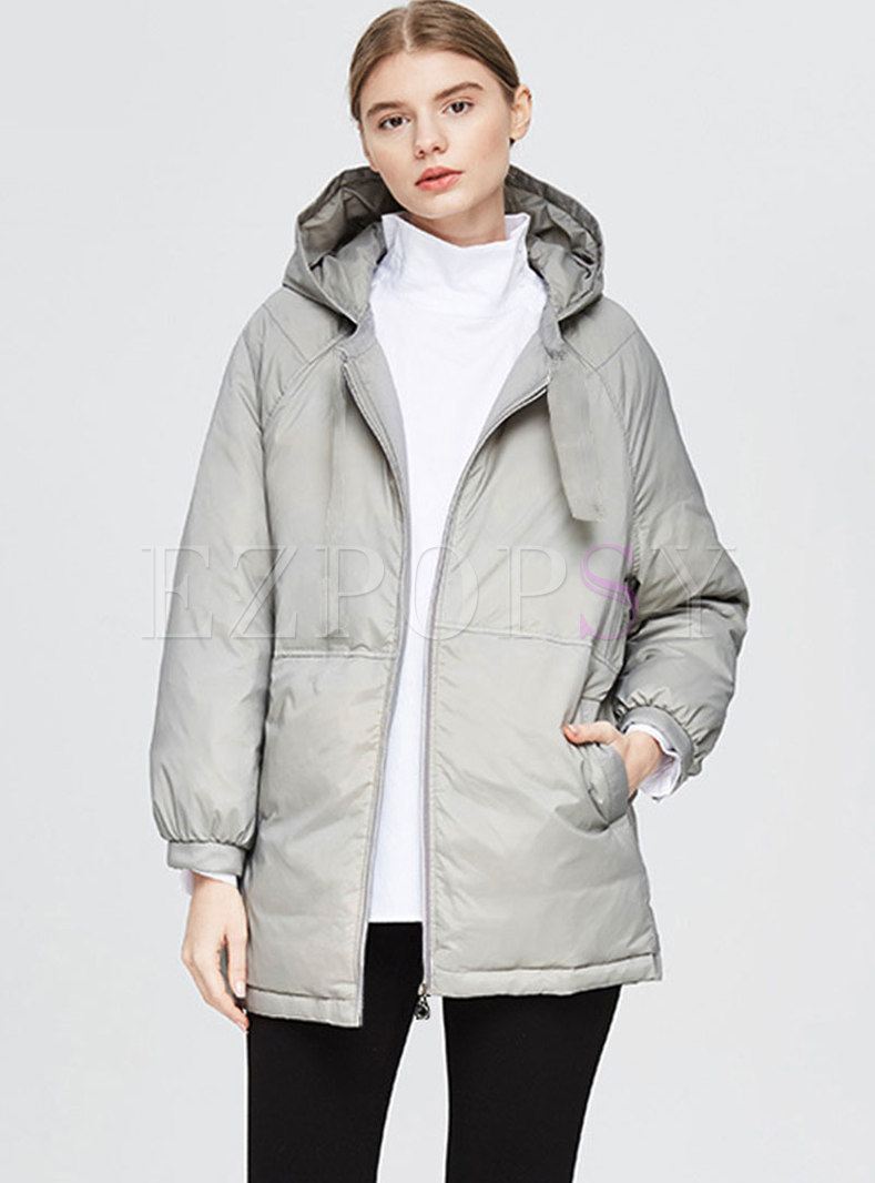 Plus Size Straight Hooded Down Coat