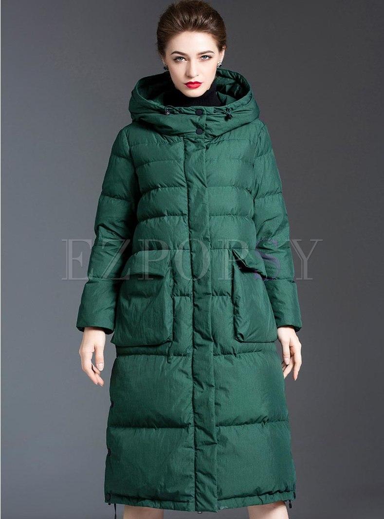 Hooded Straight Long Puffer Coat