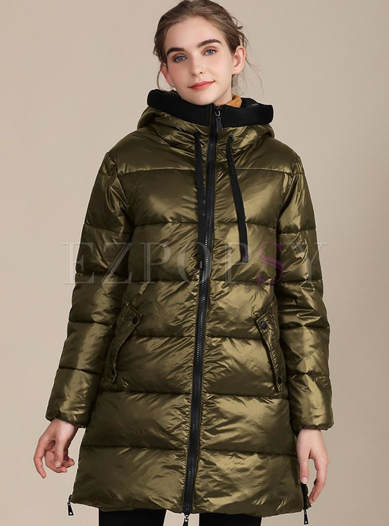 Color-blocked Straight Plus Size Coat
