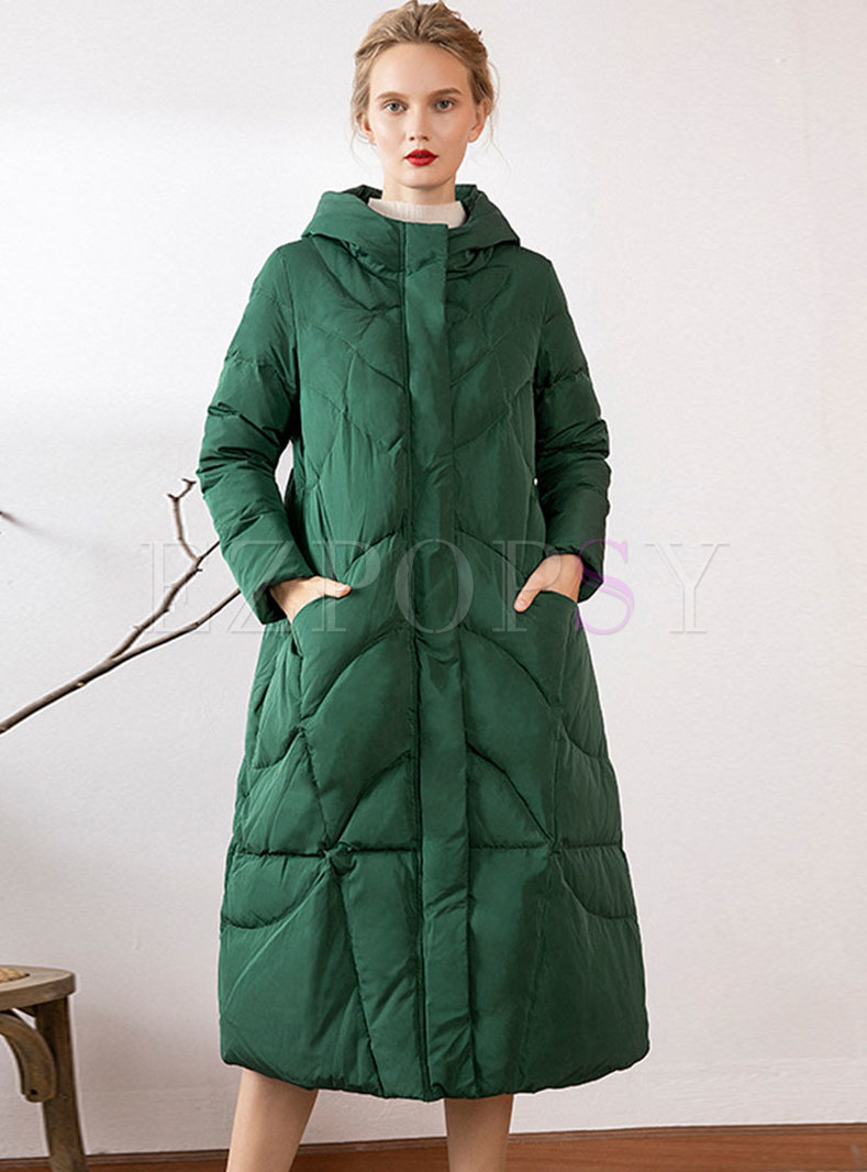 Hooded Long Sleeve Loose Long Down Coat