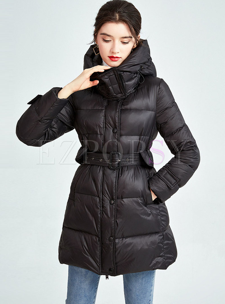 Removable Hooded Belted A Line Puffer Coat