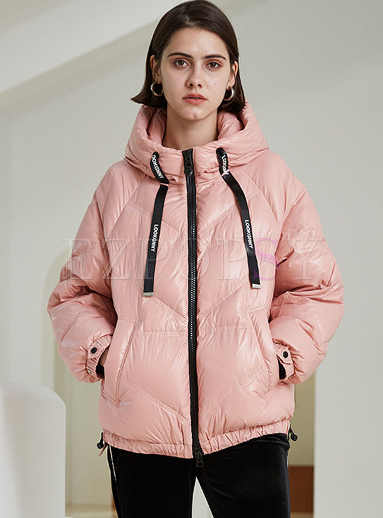 Letter Print Drawstring Loose Down Jacket