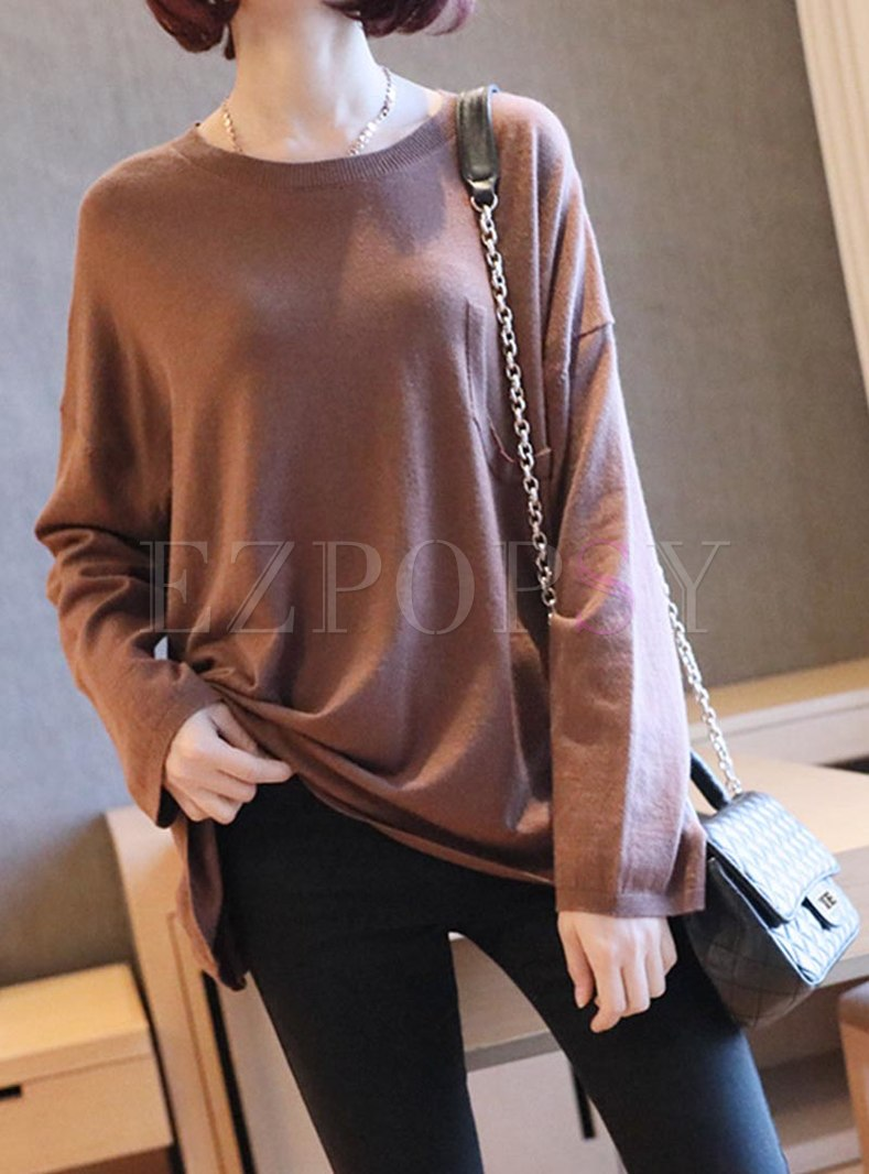Plus Size Crew Neck Pullover Sweater