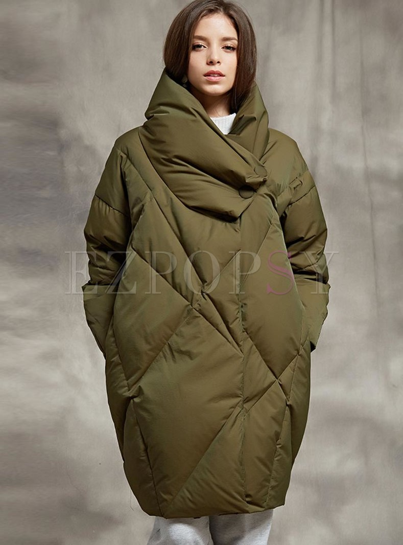 Mock Neck Cocoon Loose Goose Down Coat