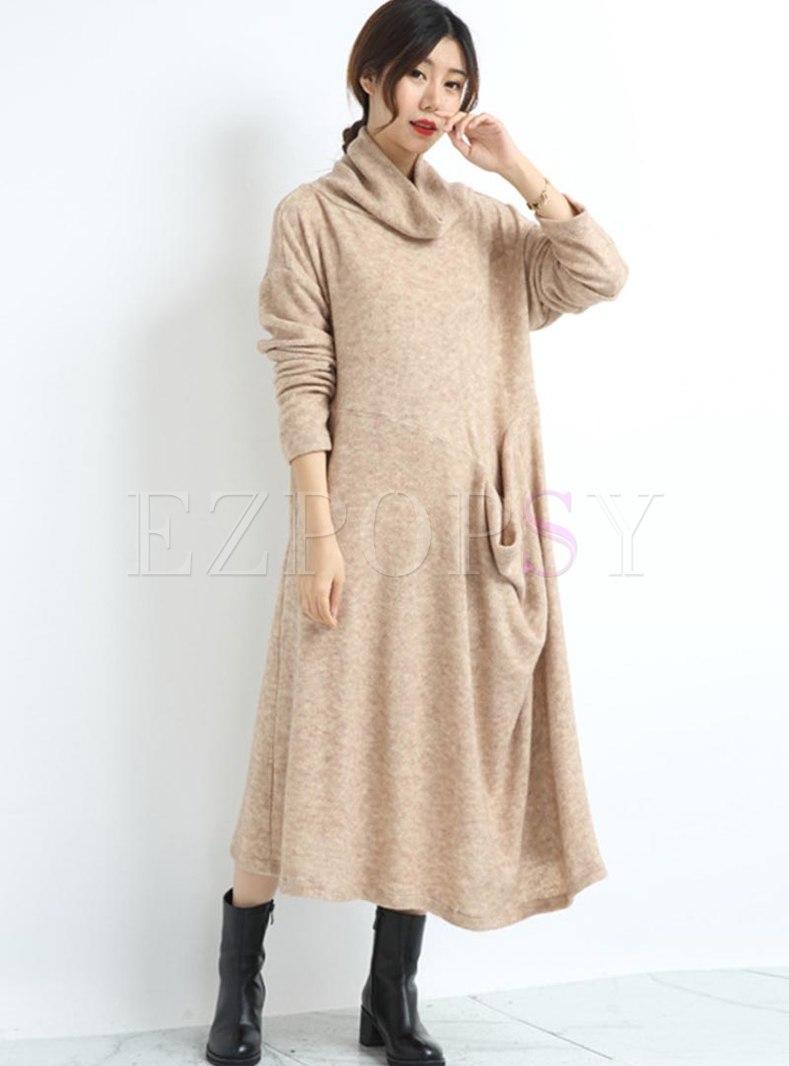 Plus Size Turtleneck Long Sleeve Sweater Dress