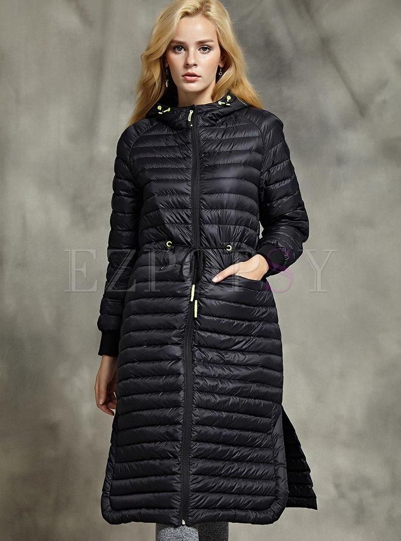 Hooded Long Sleeve Lightweight Down Coat