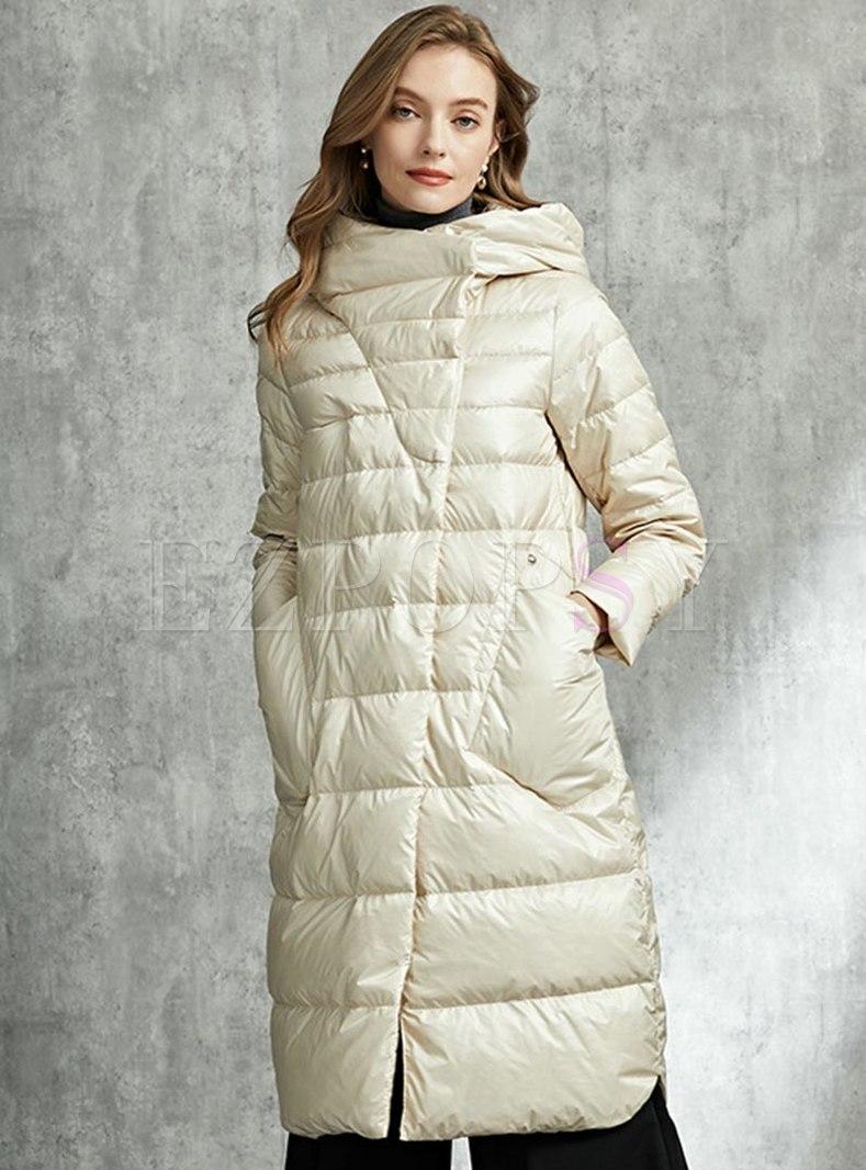 Hooded Knee-length Straight Puffer Coat
