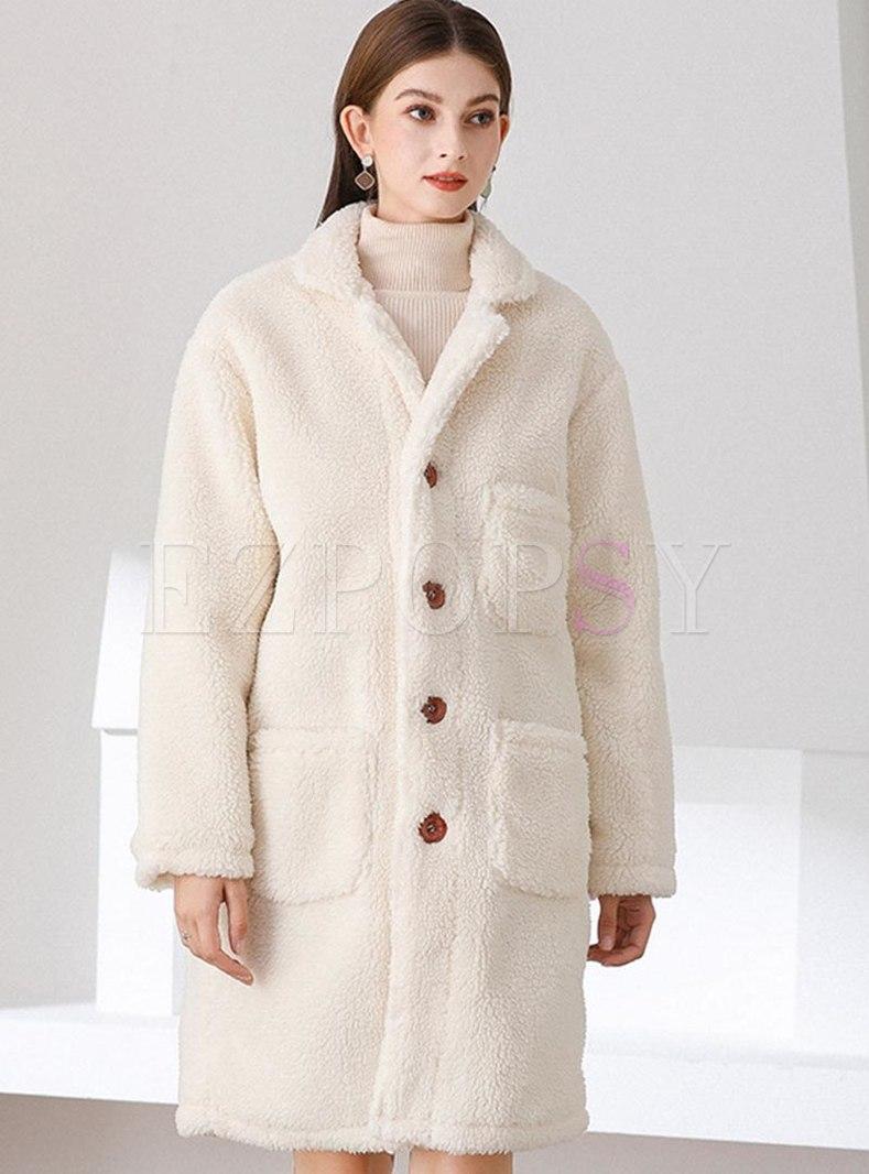 Lapel Long Sleeve Straight Lambswool Coat