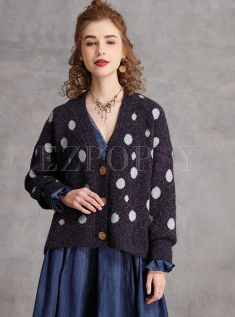 Polka Dot V-neck Single-breasted Cardigan