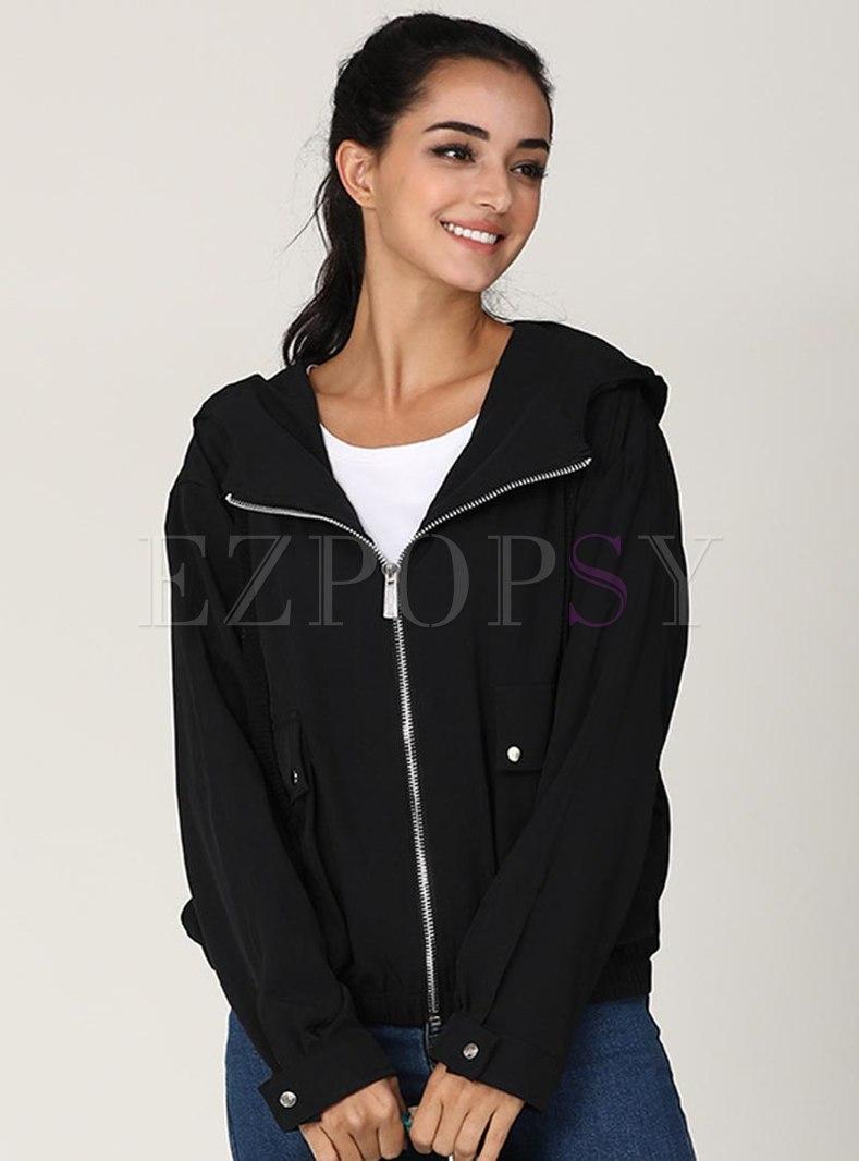 Turn Down Collar Front Zip Solid Jacket