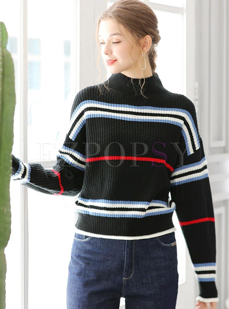 Color-blocked Striped Pullover Sweater