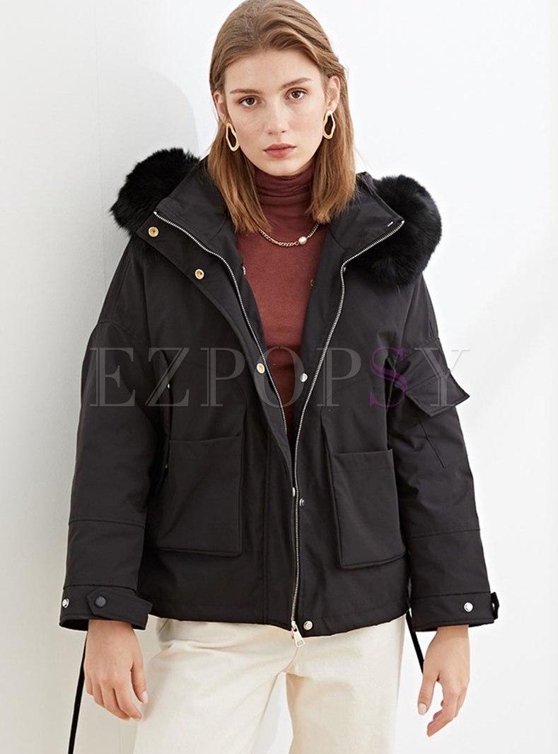 Hooded Short Drawstring Straight Down Coat