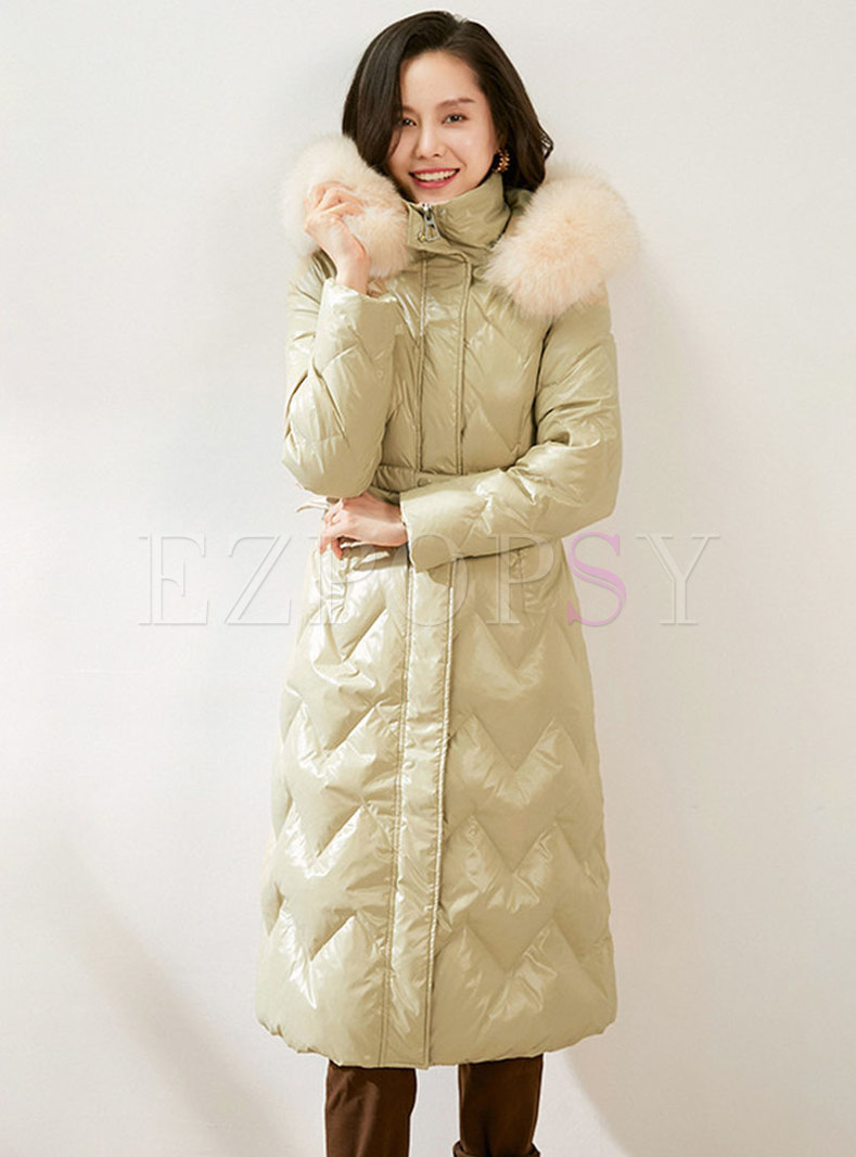 Hooded Diamond A Line Knee-length Down Coat