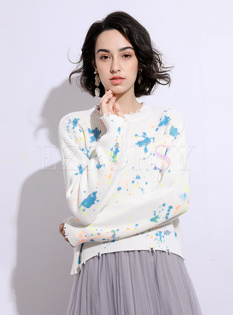 Crew Neck Tie Dye Ripped Pullover Sweater