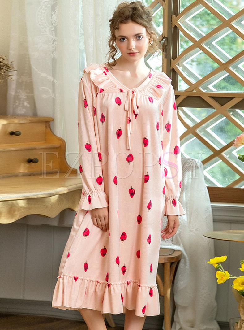 Sweet Print Velvet Shift Nightgowns