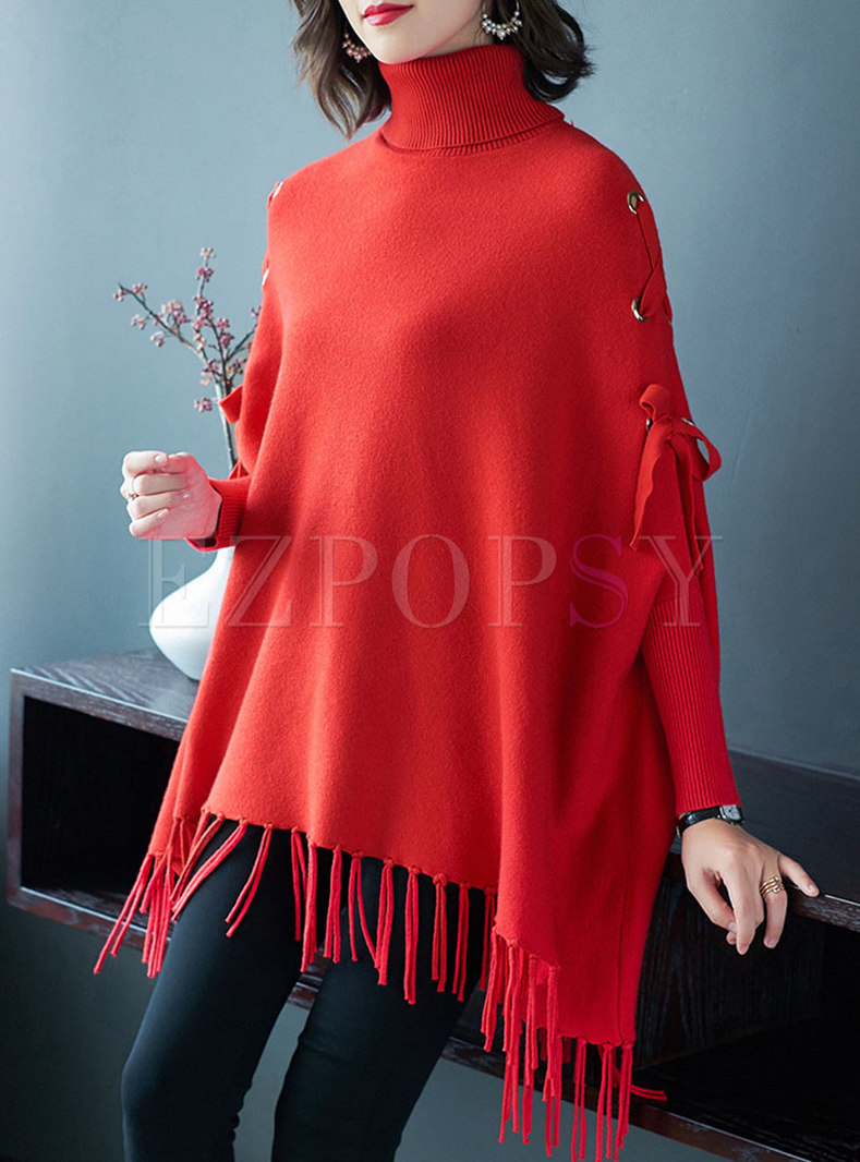 Turtleneck Pullover Fringed Cape Sweater