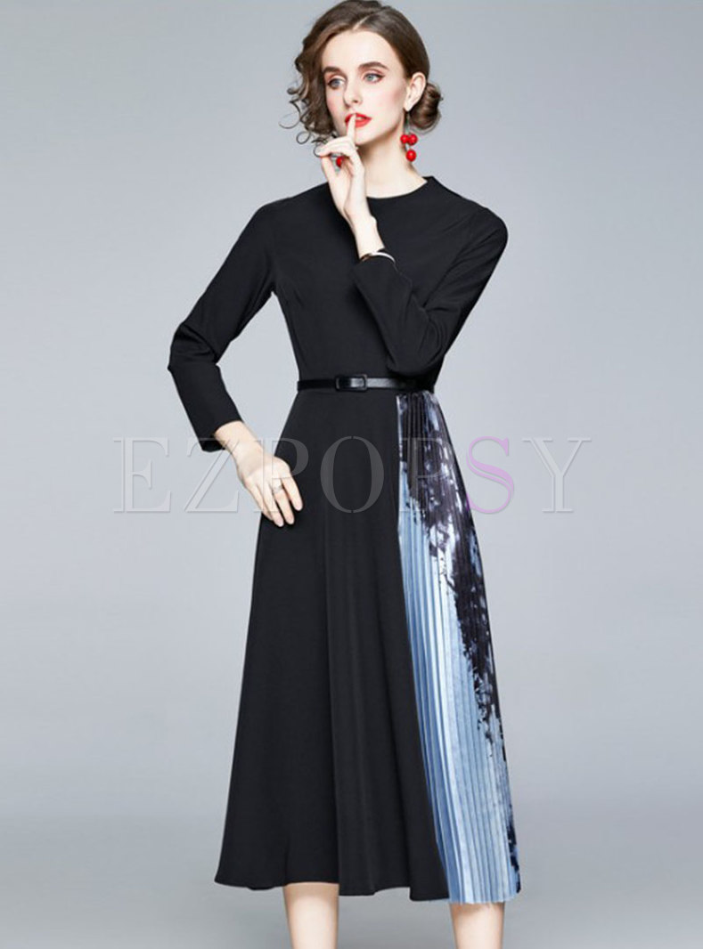 Color-blocked Crew Neck Patchwork Pleated Dress