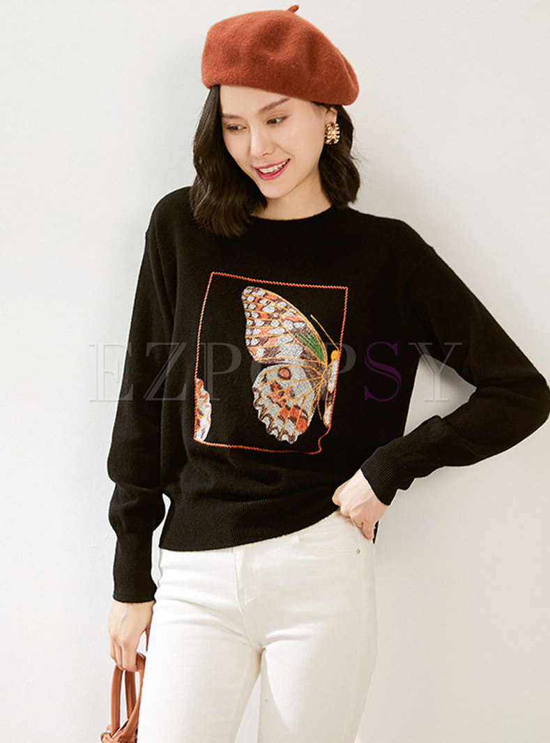 Crew Neck Butterfly Embroidered Sweater