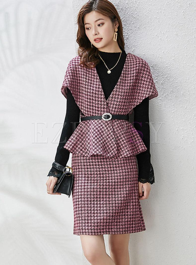 Plaid Ruffle Mock Neck Sheath Three Piece Outfits