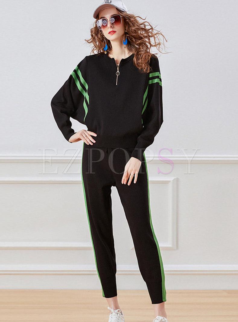 Color-blocked Front Zip Slim Sweater Pant Suits