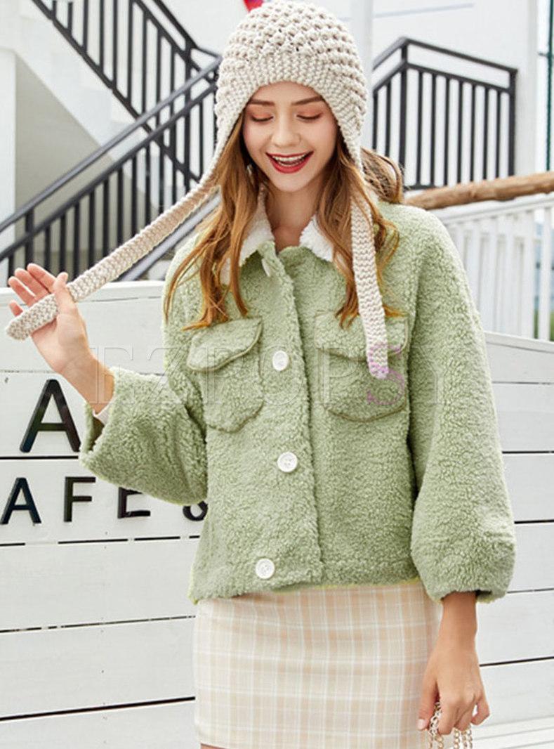 Color-blocked Lapel Fleece Teddy Coat